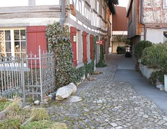 charming old village (corrada2000) Tags: fence schweiz switzerland dorf village cobblestones alleyway charming quaint zaun halftimbered fachwerk fensterlden charmant kopfsteinpflaster gottlieben malerisch woodenshutters gsschen