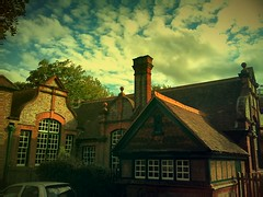 Old school (maistora) Tags: uk school autumn trees windows light red summer england sky house colour building brick green classic station mobile architecture hub clouds vintage reading town day quiet village phone theatre suburban britain antique twyford sony cellphone peaceful atmosphere railway sunny september roofs smartphone crossroads upstream berkshire chimneys android wokingham undisturbed locality maistora xperia picsay