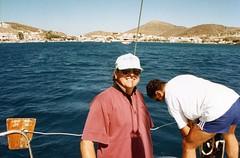 Skala, Patmos Island, Ian and Pete (Gillian Everett) Tags: sailing greece greekislands sunsail dodecanese patmosisland oceanis350 epsonv33scanner asiaukandeurope1994