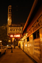 Right Way Auto Service (Flint Foto Factory) Tags: auto city urban chicago reflection classic sign shop bulb night vintage evening illinois spring neon nocturnal may saturday lincoln service repairing byron mechanic damen complete repairs 2012 ravenswood irvingpark oilchange rightway