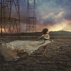 to beg for fire (brookeshaden) Tags: sky storm girl field clouds movement dress surreal running powerlines whimsical fineartphotography brookeshaden