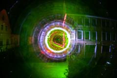 Malachite Wheel (FDU4) Tags: longexposure windows light lightpainting color green night dark circle symmetry round rotation icm intentionalcameramovement