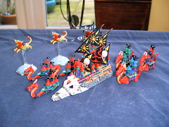 Man o War Dark Elf Fleet (Godders11) Tags: citadel warhammer elves manowar gamesworkshop manticore darkelves doomreaver blackarc dreadfleet blackarcofnaggaroth deathfortress