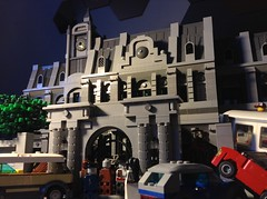 Raccoon City Police Department Front Gate (Wichi007) Tags: city cars lego accident zombie evil police raccoon department biohazard resident rpd