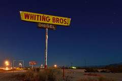 whiting bros. diesel. yucca, az. 2013. (eyetwist) Tags: road longexposure arizona moon classic abandoned pool sign night america truck vintage dark stars typography photography route66 nikon waves desert diesel tripod mother rusty motel roadtrip 66 gone fullmoon truckstop route moonlit stop type americana moonlight weathered interstate arrow 40 roadside nikkor bros derelict arid yucca whiting i40 startrails mojavedesert typographic eastbound sansserif vanished eyetwist whitingbros d7000 eyetwistkevinballuff 1024mmf3545g