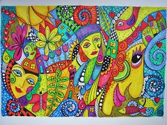 Be happy!! (MakeArtBeHappy) Tags: flowers houses fish bird colors butterfly colorful faces drawing mixedmedia doodle funnyfaces tangle coloredpencil fineliner happyart inktense zentangle inktensepencils