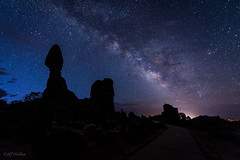 Milky Way Over Balanced Rock [Explored] (WherezJeff) Tags: way dawn nationalpark twilight arches moab milky balancedrock