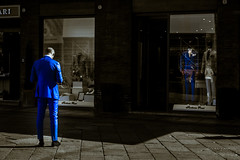 Dark Blue (Iliyan Yankov) Tags: street city blue portrait people urban italy wearing fashion shop mall magazine design back store official model open market space alien streetphotography aliens wear suit human bologna piazza maggiore cloth piazzamaggiore fashiondesign strreet vestiti streetmall iliyan vestirsi fashioncity
