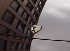 Lamborghini reflection , BIAMF 2014 (Hammerhead27) Tags: auto show street black reflection car bristol logo italian paint shine voiture badge lamborghini biamf2014