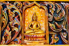 Carved in wood thai Buddhist (PrgomeljaDusanAna) Tags: travel blue summer wallpaper sky sculpture art tourism monument face statue stone architecture asian thailand religious temple ancient worship shrine asia peace view image god body buddha background buddhist faith prayer religion central culture peaceful buddhism east holy thai sacred destination historical classical ritual tradition spiritual buddist myth deity attraction