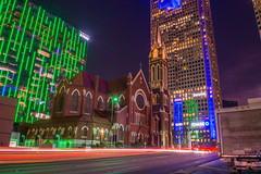 God and Money (xirn32) Tags: longexposure church night dallas downtown texas cathedral bank skyscrapper lighttrail