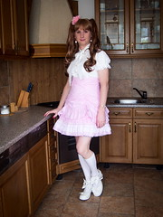 Little girl (blackietv) Tags: pink white kitchen lace skirt crossdressing blouse tgirl transgender lolita transvestite crossdresser petticoat frilly