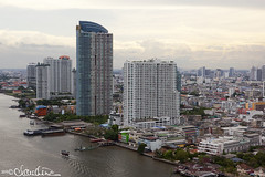 (by claudine) Tags: world travel sky architecture clouds skyscraper landscape thailand photography view photos bangkok unique culture fromabove thai customs chaophrayariver byclaudine