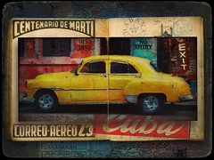 Vintage Travelogue. (jimlaskowicz) Tags: world auto travel painterly art classic car sedan vintage classiccar automobile colorful artistic postcard havana cuba journal textures layers aged cuban iconic 1950 postage impressionistic travelogue cabinetcard yellowtaxi ipad2 mobileartistry