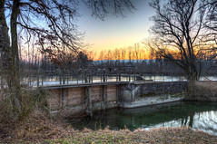 Weir from the other side (Daniel J. Mueller) Tags: wood reflection tree water forest river concrete canal zurich zrich hdr canton weir wehr reuss kanton 7xp d3s