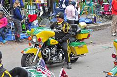Mardi Gras Biker (BKHagar *Kim*) Tags: street man color green yellow gold la louisiana neworleans parade harley celebration harleydavidson motorcycle napoleon biker mardigras rider 2012 bkhagar
