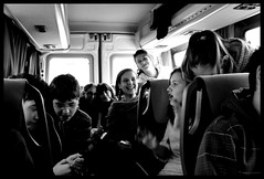 """""""By learning you will teach; by teaching you will understand."""" Latin Proverb (♪ fotodisignorina ♪ Felicia Violi PHOTOGRAPHY) Tags: travel blackandwhite bw bus students digital canon photography eos reflex dof teacher learning"""