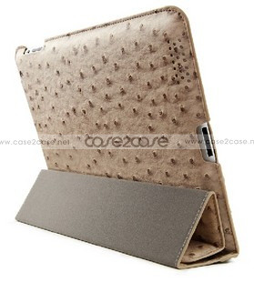 Ostrich Leather smart cover with back cover for ipad 2 IPAD 3 Nake