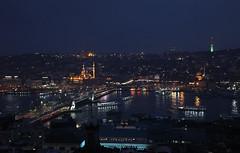 Beyazıt (kompetenzsackerl) Tags: new bridge tower night turkey golden dusk istanbul mosque horn beyoglu highiso yeni galata camii kulesi beyazit haliç köprüsü rüstempasa