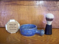 Shaving Mug and Shaving Soap (cordial3) Tags: milk soap handmade craft goat brush shaving mug pottery poterie rasage shavingmug blaireau shavingdish