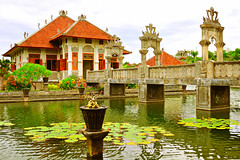 Ujung Water Palace, Karangasem, Bali (1) (Tortie_cat) Tags: bridge bali gardens architecture indonesia palace ponds historicalbuildings waterpalace historicarchitecture karangasem balinesearchitecture balineseculture nikond90 ujungwaterpalace blinkagain karangasemwaterpalace