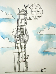 But why would I want to keep anyone out? (Kevin Franz and The Monster Party) Tags: door people house man guy window birds illustration pencil ink watercolor drawing shack sharpie talking