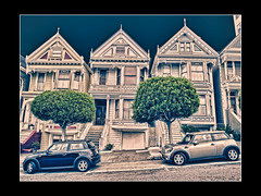 San Francisco's Painted Ladies   [Photoshop fun] (SergeK ) Tags: sf sanfrancisco california homes ladies usa photoshop square painted alamo victorians californie unitesstates sfsan sergek sanfranciscospaintedladies