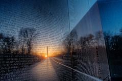 Vietnam Memorial I [Explore] (It's my whole damn raison d'etre) Tags: morning blue orange alex yellow sunrise dawn dc washington nikon memorial day magic vietnam fallen hour heroes kia hdr veterans d300s erkiletian