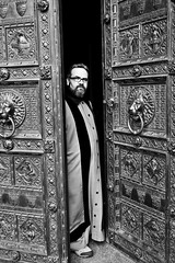 dom priest (Fokko Muller) Tags: street door urban bw man church beard glasses catholic cathedral robe dom streetphotography cologne priest 20mm koln urbanphotography keulen lumix20mmf17 panasonicgx1