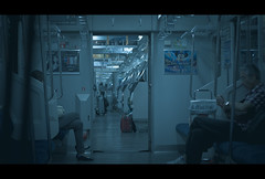 (skidu) Tags: blue people japan canon underground eos 50mm rail cinematic borders 550d t2i