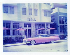 1959 Cadillac (Phillip Pessar) Tags: film beach analog florida miami south pack instant expired 108 sobe colorpack polacolor 2000super