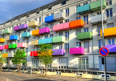 Colorful Balconies (Habub3) Tags: street city travel blue red holiday building tree green rot window colors yellow architecture germany deutschland nikon europa europe fenster urlaub haus gelb stadt architektur balconies grn blau tuebingen baum gebude bau hdr vacance 2012 reise farben balkone d300 strase habub3 mygearandme