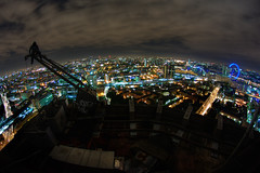 London View (murphyz) Tags: city longexposure roof london window wheel silhouette night clouds canon hoodie high view capital perspective vertigo millennium fisheye cleaning urbanexploration heights urbex rooftopping