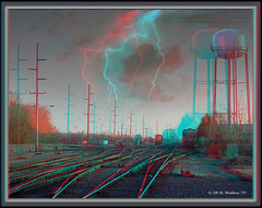 Tracking The Storm (starg82343) Tags: storm tower cars lines weather electric clouds danger digital altered de effects stereoscopic 3d cloudy watertower traintracks tracks overcast rr manipulation anaglyph stereo bolt strike hyper poles delaware lightning fx striking telephonepoles sfx harrington digitallymanipulated stereoscopy stereographic digitallyaltered brianwallace rryard rrcars