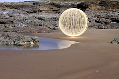 Beach Reflection ([inFocus]) Tags: longexposure moon lightpainting reflection beach water southwales wales night canon orb full fullmoon sphere 7d afterdark ogmorebysea 24105mm lightjunkie