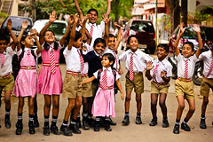 lovely days !!!  [EXPLORED] (Kanishka **) Tags: school india home students kids fun jump holidays uniform batch bangalore tie exams schoolkids karnataka clap samrat kanishka schoolshot kidsjump kidsjoy canon550d schoolbatch