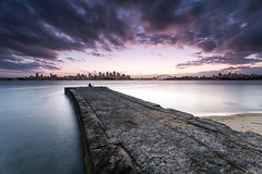 seeing out the day (Luke Tscharke) Tags: park city longexposure pink tower water clouds canon geotagged concrete eos evening pier nationalpark fisherman harbour sydney reserve wharf late cbd colourful operahouse harbourbridge northsydney parkland bradleyshead portjackson 5dmkiii 5dmk3 5dmarkiii sydneyeye 5dmark3 geo:lat=3385307236494681 geo:lon=15124546867361073