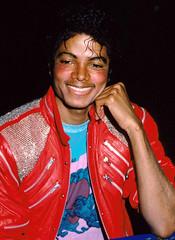 1983 - Dream Girls Opening Night (TheLostChild's Gallery) Tags: red portrait rot laughing shot head headshot jacket laugh michaeljackson lachen rd jacke jacken lederjacke portraet portrt