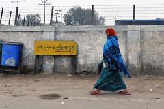 Ones Direction (eternal_ag0ny) Tags: road street blue red india sign yellow lady photography nikon colorful shot walk candid board agra nikkor 18200mm d300s