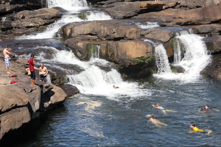Swimming at Tatai Waterfall