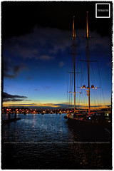 123/365/2 (fotojorno) Tags: blue sunset sea silhouette marina harbor boat yacht wharf bluehour afterglow berth project365