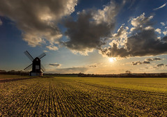 Pitstone Windmill (Baggers 2013) Tags: uk england sun windmill clouds rural spring bright dusk buckinghamshire fields crops shoots cheerful timeless ivinghoe sunstar pitstonewindmill flickrchallengegroup flickrchallengewinner canon6d