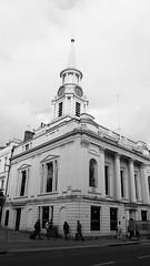 Hutcheson's Hall (byronv2) Tags: blackandwhite bw building tower clock monochrome architecture scotland blackwhite glasgow clocktower spire merchantcity davidhamilton ingramstreet hutchesonshall
