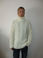 Stylish husband in cabled turtleneck (Mytwist) Tags: woman sexy classic wool fashion lady female fetish vintage cozy fisherman weekend craft pride retro mens passion jumper casual turtleneck timeless pullover qx vouge sweatergirl knitwear cabled vtg webfound weekendsweater lyud pt2014 pt2014lyud