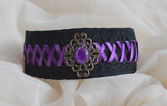 Evil queen - collar (ceressiass) Tags: black cute stone modern dark one necklace kitten play hand purple adult princess little cosplay handmade lace space gothic goth violet kitty jewelry bdsm made lolita human accessories resin elegant collar unisex thick alternative choker lacing laced