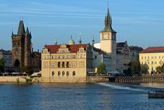 View of Prague from river on evening cruise (stephengg) Tags: old bridge tower river town republic czech prague praha vltava weir