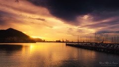 Atardecer en la playa de Las Arenas de Getxo (Mimadeo) Tags: sunset sea sky panorama beach water beautiful sailboat port evening harbor pier boat dock spain ship yacht jetty panoramic mast basquecountry paisvasco getxo biscay