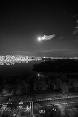 , ,  (photo_irina) Tags: sky blackandwhite bw moon water beautiful clouds reflections landscape evening cityscape bnw