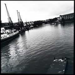 Bristol Harbour (firstnameunknown) Tags: city water monochrome birds skyline cormorants bristol boats blackwhite cityscape harbour cranes harbourside iphoneography hipstamatic