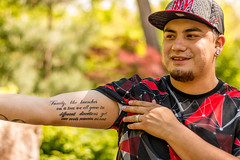 100 Strangers | 90: Ray (Facundity) Tags: newmexico hat horizontal tattoo 50mm father streetphotography streetportrait albuquerque stranger ef50mmf14usm newmexican outdoorportrait youngfather 100strangers albuquerquebotanicgarden medicalworker canoneos70d